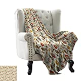BelleAckerman cat Blanket Vintage,Retro Pattern Old Fashioned Icons Alarm Clock Typewriter Gramophone Radio Cassette,Multicolor Lightweight Microfiber,All Season for Couch or Bed 60'x78'