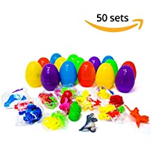 50 Pack! - Easter Large 2.7 Inches Eggs, Bright & Colorful, Filled with 50 Different Prize Toys - Unique Surprise Egg Stuffers, Fantastic Easter Present / ideal for Egg Hunt Gifts & Basket Supplies