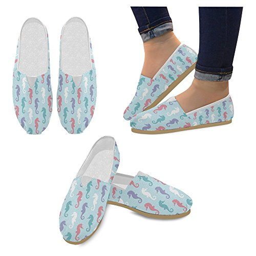 Mocassini Da Donna Di Interestprint Classico Su Tela Casual Slip On Scarpe Moda Sneakers Mary Jane Flat Seahorse