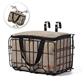 Onway Front Handlebar Bike Basket Folding Bicycle Lift-Off Basket Carrier Tote Basket Liner Bag, Brown/Black