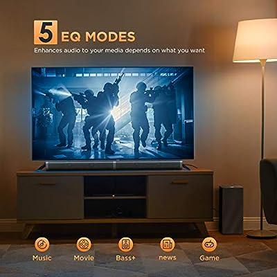 Barra de Sonido 2.1 para TV, BOMAKER 4K&HD 100W con Subwoofer, Potencia 110 dB, Bluetooth 5.0, 5 Modos de Sonido, Óptico, 3,5 mm AUX, USB, para Cine en Casa, Tapio V-Negro: Amazon.es: Electrónica