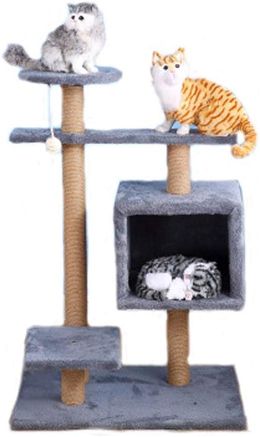 Marco de escalada para gatos, torre de gatos de sisal de felpa pequeña y de múltiples capas, resto de gato jugando al árbol del gato 60x40x90cm (gris): Amazon.es: Productos para mascotas