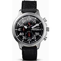 chotovelli Aviator Mens Watch- Analog Chronograph Display,Black Strap,Italian Leather 33.11