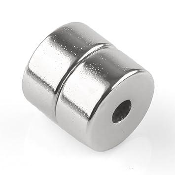 d3dd81ac7c8 Omo 2 piezas fuerte neodimio Imanes N35 NdFeB NEODYMIUM permanente Imán de neodimio  20 mm x 10 mm con agujero 5 mm  Amazon.es  Oficina y papelería