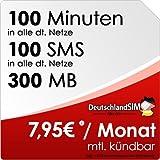 DeutschlandSIM SMART 100 [SIM, Micro-SIM und Nano-SIM] monatlich kündbar (300MB Daten-Flat, 100 Frei-Minuten, 100 Frei-SMS, 7,95 Euro/Monat) Vodafone-Netz