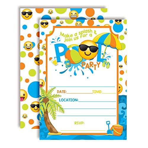 Emoji Pool Party Birthday Party Invitations for Boys, 20 5