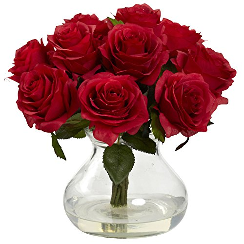 Nearly Natural 1367-RD Rose Arrangement with Vase, Red