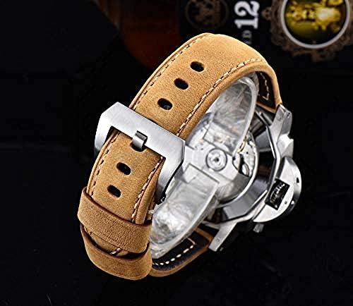 Montres Boîtier en Acier Inoxydable Argent Mode Militaire Jaune Mouvement Automatique Montre Bracelet en Cuir 44MM