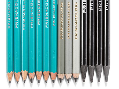Prismacolor 24261 Premier Graphite Drawing Pencils with Erasers & Sharpeners, 18-Piece Set