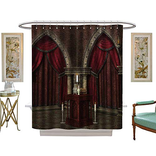 Muyindo Shower Curtains Digital Printing Mysterious Dark Room in Castle Ancient Pillars Candles Spiritual Atmosphere Fabric Bathroom Set with Hooks