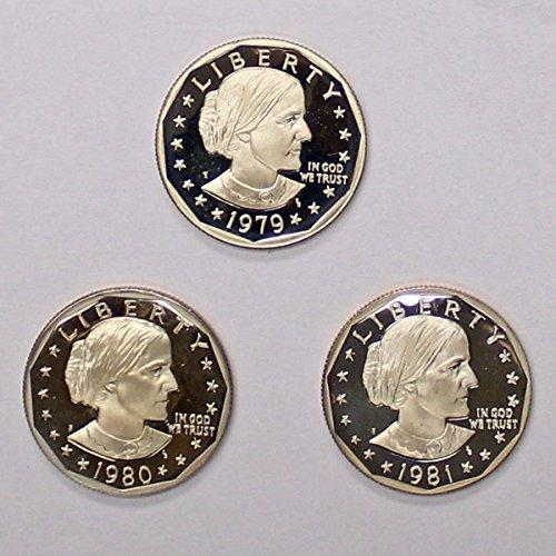 (1979 S 1980 1981 GEM Proof Susan B. Anthony SBA Dollars Dollar Proof US Mint)