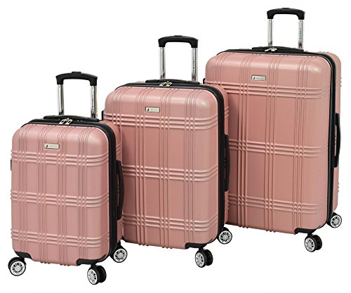 Plaid Luggage Sets (London Fog Kingsbury 3 Piece Spinner Luggage Set, Rose Gold)