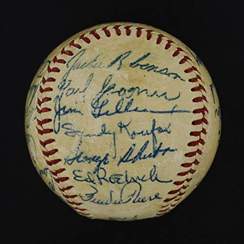 (Bold 1955 WSC Dodgers Team Signed Ball w/Jackie Robinson, Roy Campanella - PSA/DNA Certified - Autographed Baseballs)