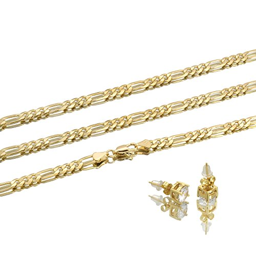 Mens 14k Gold Plated 3mm Italian Figaro Link Chain Necklace 24 Inches (Figaro Link Chain Italian)