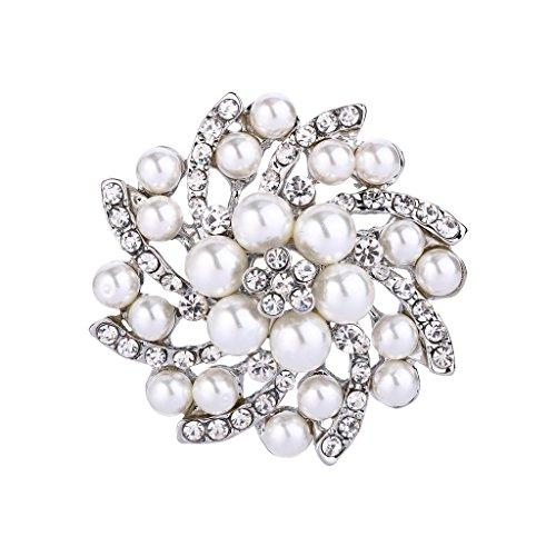 Crystal Simulated Pearl Brooch (FANZE Women's Austrian Crystal Cream Simulated Pearl Gorgeous Flower Wedding Bridal Brooch)