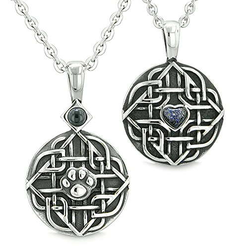 - Amulets Love Couple or Best Friends Celtic Shield Wolf Paw Heart Simulated Onyx Blue Goldstone Necklaces