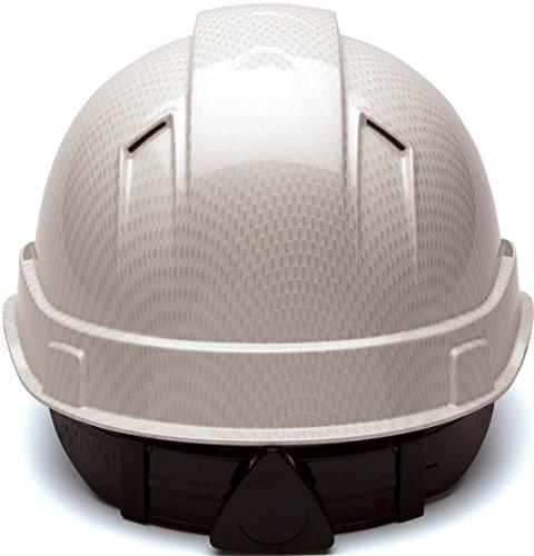 Pyramex Ridgeline Vented Cap Style 4 Pt Ratchet Suspension Hard Hat, Shiny  White Graphite Pattern