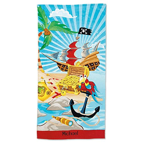 Lillian Vernon Kids Personalized Pirate Jumbo Cotton Beach Towel for Boys by 100% cotton, Custom embroidered - 30