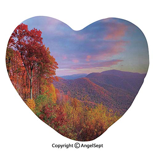 AngelSept 45x50cm Heart Shape Decorative Throw Pillow Sunrise with Stunning Sky Colors in Autumn Falls at South Western Village Scenery PP Cotton Soft Creative Lover Gift,Red Yellow Blue