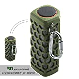 Hapyia Portable Wireless Bluetooth Speaker, Pair 2 speakers for 3D Stereo Surround Sound [New Release] - One Speaker (Army Green)