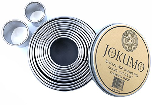 JOKUMO 12 Piece Plain Round Pastry / Cookie Cutter Set Heavy Duty Commercial Grade 18/8 304 Stainless Steel - Metal Marked Size – Perfect For Cooking Enthusiast (Round Plain Dough Cutters)