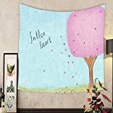 Jacquelyn A. Velasquez Custom tapestry hand drawn tree with fallen heart shape leaves over blue sky hill lawn field romantic love