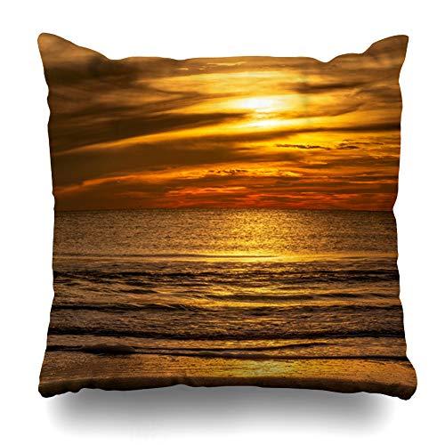 Ahawoso Throw Pillow Cover Colors Orange Sunset Sea Beach Nature Horizon Parks Florida Light Ocean Sky Design Zippered Pillowcase Square Size 16x16 Inches Home Decor Pillow Case (Victor Florida Park)
