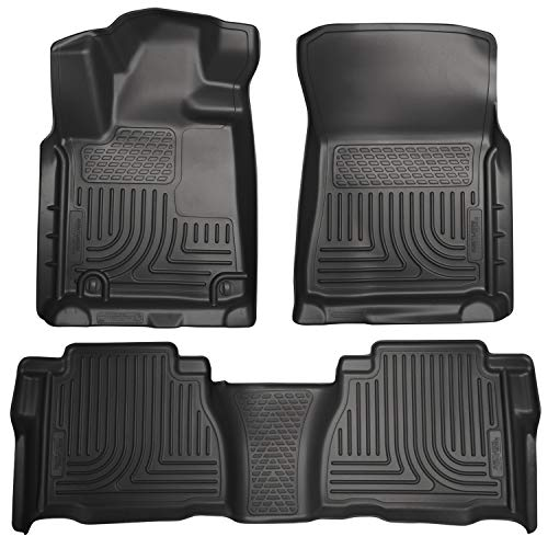 Husky Liners Fits 2007-11 Toyota Tundra CrewMax/Double Cab Weatherbeater Front & 2nd Seat Floor Mats (Footwell Coverage)