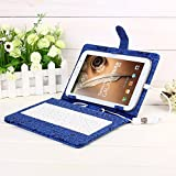 Masione™ 8 Inch Tablets Keyboard Cover Case for Samsung Galaxy Note 8.0 N5100/N5110 (8 Inch USB TO Micro USB) + W/ OTG Adapter + Stylus Pen (Blue)