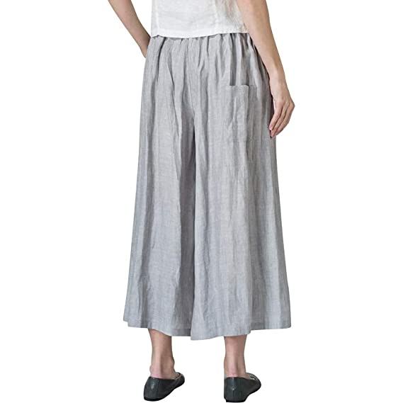 Luckycat Pantalones de Lino para Mujer con Corte Holgado ...