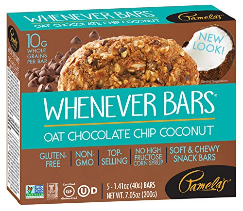 Pamela's Products Gluten Free Whenever Bars, Oat Chocolate Chip Coconut, 5 Count Box, 7.05-Ounce (Pack of 6) ()