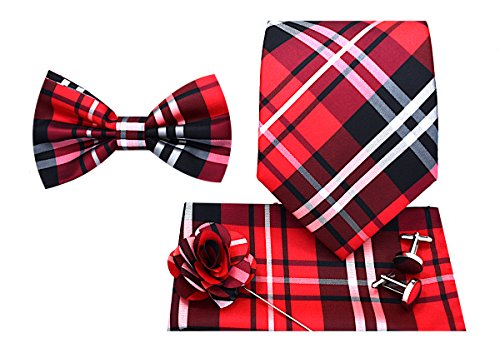 (5pc Necktie Gift Box -Plaid-Red)