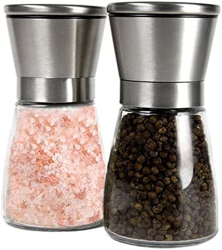 GM Kitchen Premium Brushed Stainless Steel Salt & Pepper Grinder with Adjustable Coarseness, Set of 2