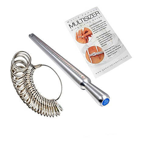 6-in-1, Finger Size Measuring Multisizer, Ring Size Mandrel Metal Stick - Size 1-15(US), D-Z+5 (UK), 41-76(Europe), with Ring Sizer Gauge Set of 27 Pcs Size 0-13 (US) by PEACOCK - Europa Set