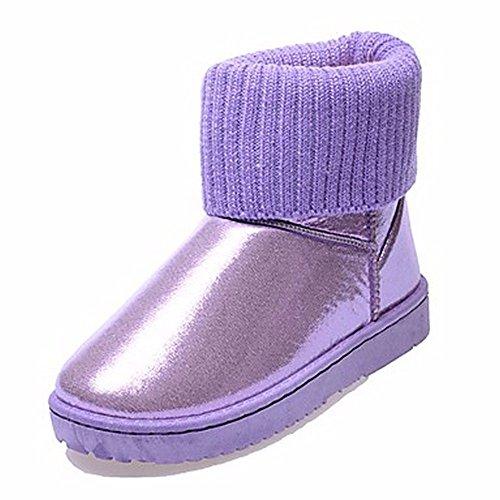 Rosa Donna Scarpe Casual Per Nero Viola Tonda Boots Purple Arrossendo Stivali Autunno Sequin Snow Zhudj Beige Punta 7Hwdx475