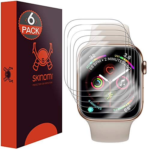 Skinomi TechSkin [6-Pack] (Edge to Edge) Clear Screen Protector for Apple Watch Series 4 (40mm) [Full Coverage] Anti-Bubble HD TPU Film