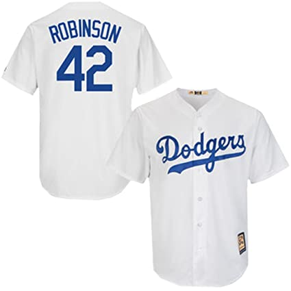 Majestic Jackie Robinson Dodgers Cool Base White Cooperstown Tackle Twill  Jersey (XX-Large) 3b182503d99