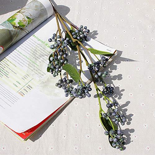- zzJiaCzs Artificial Berry,1Pc Faux Wild Berry Home Garden Flower Arrangement Office Bonsai Decor - Blue