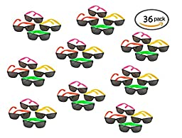 36 Pack 80\'s Style Neon Party Sunglasses - Fun Gift, Party Favors, Party Toys, Goody Bag Favors