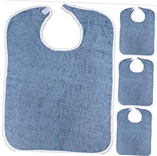 KILA 100% Cotton 6 New Adult Terry Cloth bib w/Easy Fast Closures Blue Jumbo 18x30 - RK114