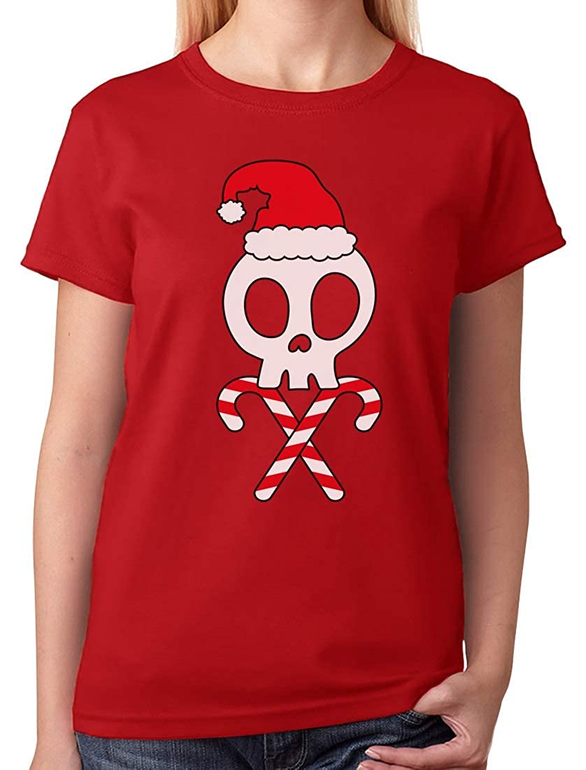 Amazon.com: Tstars - Skulls Cross-Bones Santa Hat Funny Christmas Women T-Shirt: Clothing