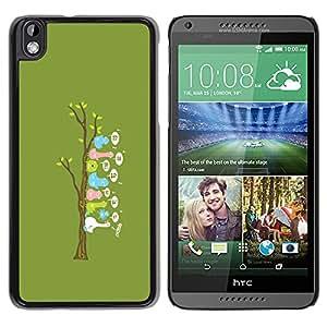HTC DESIRE 816 - Metal de aluminio y de plástico duro Caja del teléfono - Negro - Cute Funny Bird Tree
