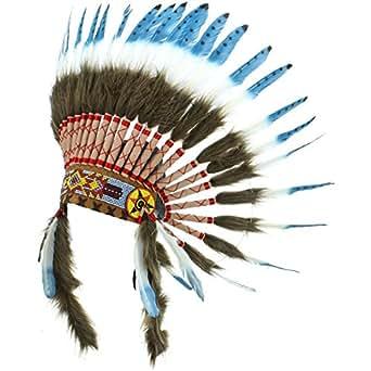 Tocado de indio americano con plumas azules y puntos de color negro