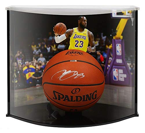 LeBRON JAMES Autographed Los Angeles Lakers Engraved Official NBA Authentic Basketball Curve Display UDA