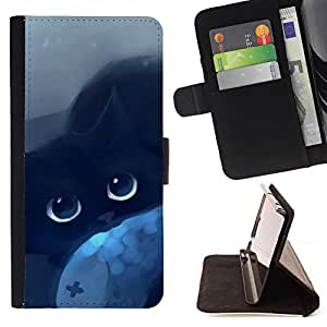 BullDog Case - FOR/LG G3 / - / cat blue eyes black night drawing mysticism /- Monedero de cuero de la PU Llevar cubierta de la caja con el ID Credit Card Slots Flip funda de cuer