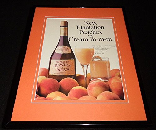 (1986 Plantation Peaches Cream Liqueur Framed 11x14 ORIGINAL Advertisement)