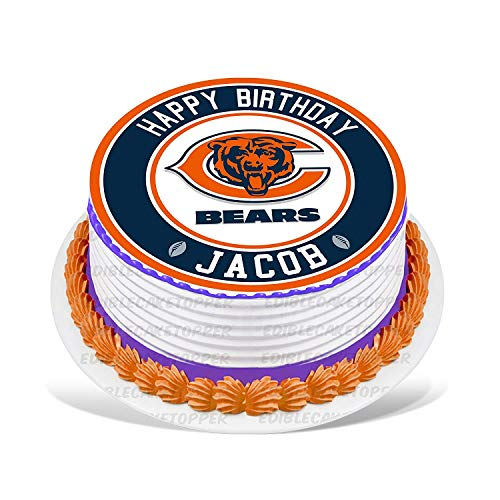 Chicago Bears Edible Cake Topper Personalized Birthday 10