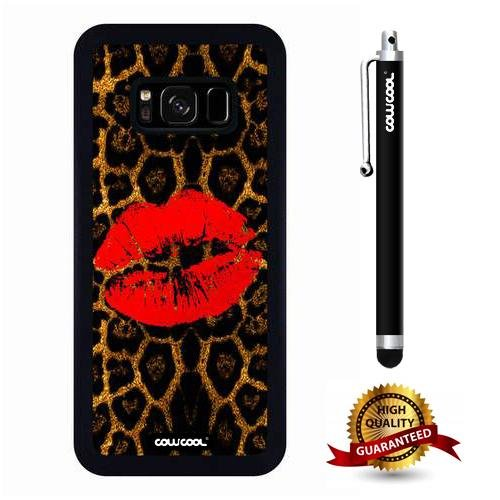 Galaxy S8 Case, Lip Case, Cowcool Ultra Thin Soft Silicone Case for Samsung Galaxy S8 - Leopard Red Lips