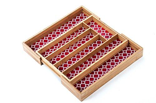 Bambus Besteckkasten verstellbar Besteckeinsatz Schubladeneinsatz Besteckbox neu