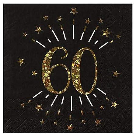 1001decotable - 10 servilletas de cumpleaños 60 años, Color ...